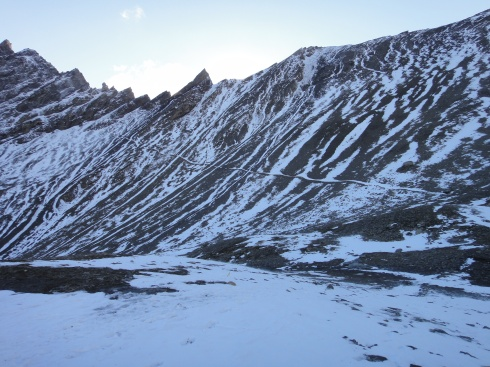 No doubt where the trail is! Be prepared for all kinds of weather and unforgiving terrain!