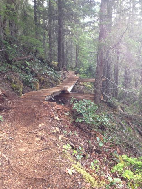 Mountain Bikers build the best trails! This cantilevered bridge is on Race Rocks trail - with Todd