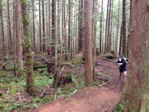 Running up a beautiful switchback trail called Blue Collar with Jerry, Todd and Steve (photo credit: Todd Gallagher)