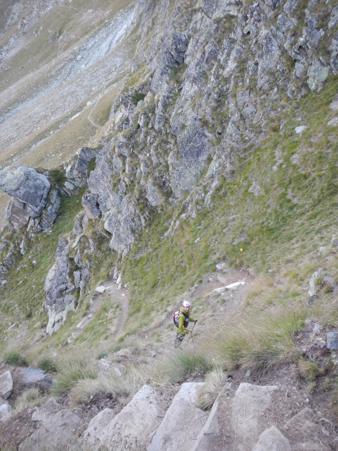 Heading down the steep switchbacks of Fenetre de Tsan. Bruce is only one switchback ahead but a huge distance downhill.