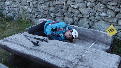 Almost into Ollomont, I lay on the picnic bench as a silly gesture but fell asleep quite quickly, using one of my water bottles as a pillow.