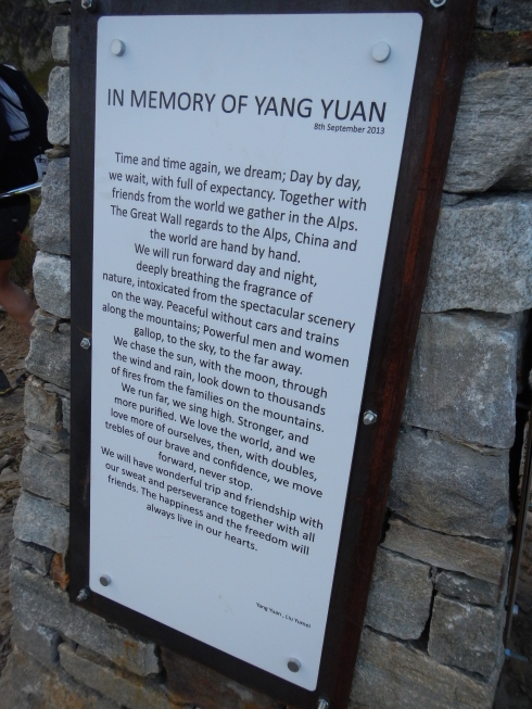 Yang Yuan's Memorial on Col de la Crosatie - I believe that these are his words. Each side of the memorial had a translation.