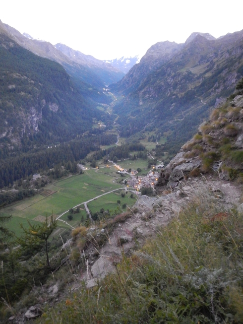 Descending into the valley below Col de la Cosatie, we could see the town of Planaval in the foreground and Valgrisenche (first life base) farther up the valley.