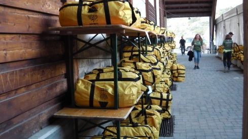 Racks and racks of drop bags at Cogne Life Base