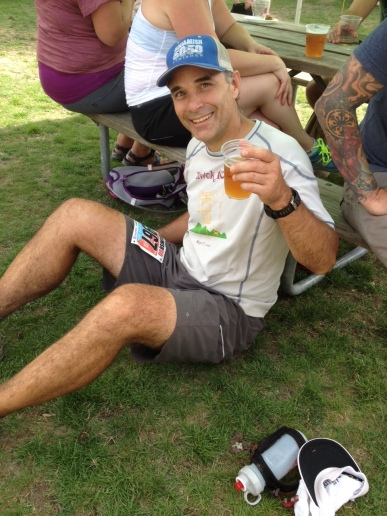 After finishing the 50/50, JP made a beeline for the finish line beer garden and is seen here enjoying a well-earned Super Jupiter ISA.