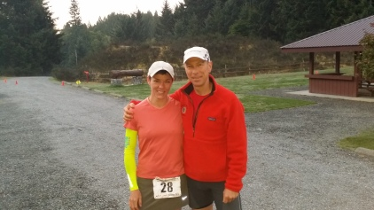 A pre-race photo of Bruce and me at the group camp site, 100 m to the start line.