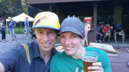 Here we are at the finish, sipping Driftwood's New Growth Pale Ale (and White Bark Wit).