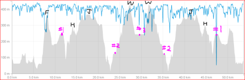 Here is my Strava elevation profile. I have noted the aid stations in pink and the most significant peaks in black (Finlayson, Holmes, Jocelyn and Work)